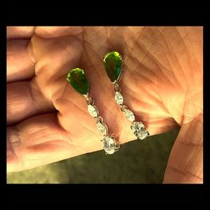 CZ and peridot stone earrings